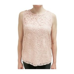 Adrianna Papell | Pink Lace Crochet Top size S